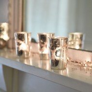 Small Etched Silver Votive
