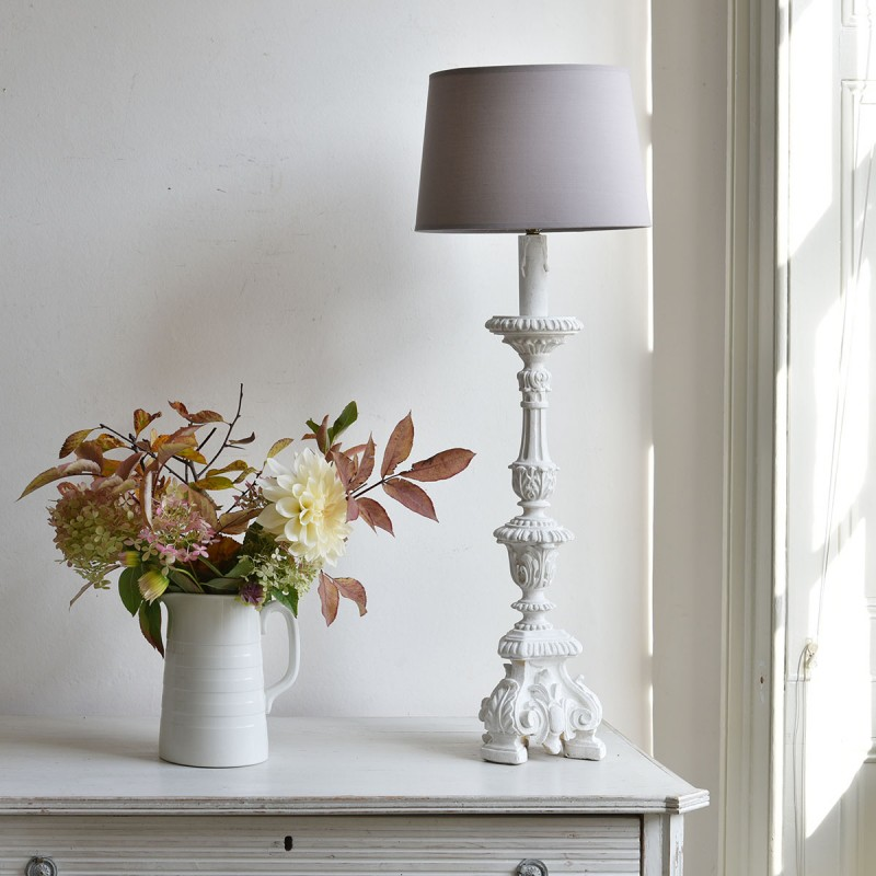 Vintage Lamp Base, White