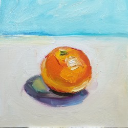 Small Oil On Board, Orange