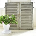 """These big old French shutters would make amazing doors on a built in cupboard....the colour is just divine...very similar to F&B """"Lamp Room Grey"""" or """"Pigeon""""...but original weathered paint.  * * * #frenchantiques #chippypaint #brocante #brocantefinds #frenchbrocante #countrybrocante #countryliving #interiorstyling #interiordesign #vintagestyle #vintage #vintageliving #vintagecountrystyle #moderncountrystyle #decorativeantiques #decorativeliving #decorativecountryliving #periodliving #farrowandball #lamproomgrey #pigeon"""